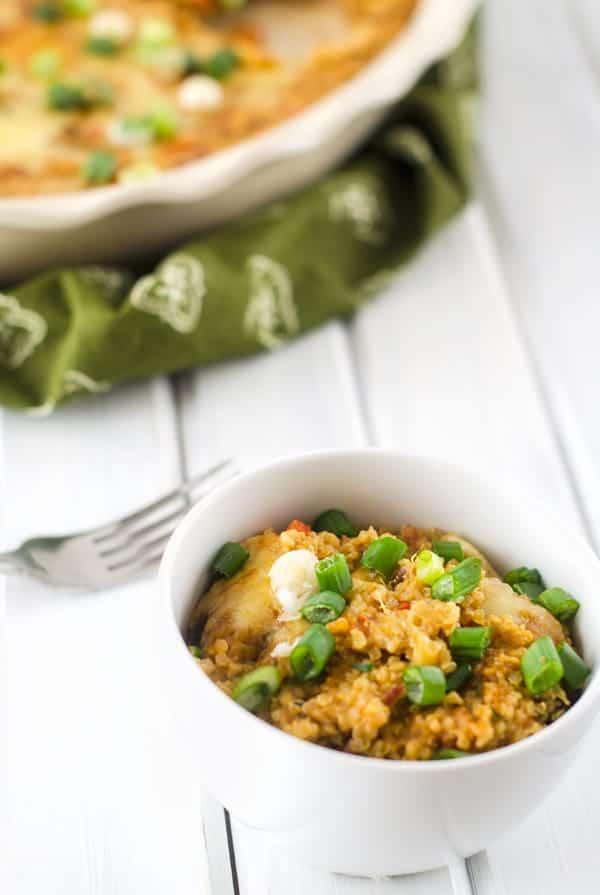Cheesy Chipotle Chili Quinoa Casserole