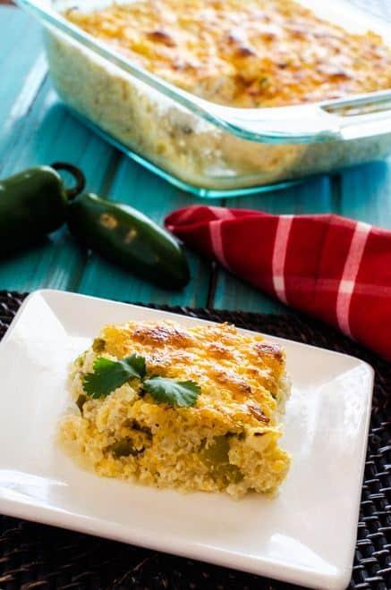 Cheesy Green Chile Quinoa Casserole - Gluten Free with Vegan Option - WendyPolisi.com