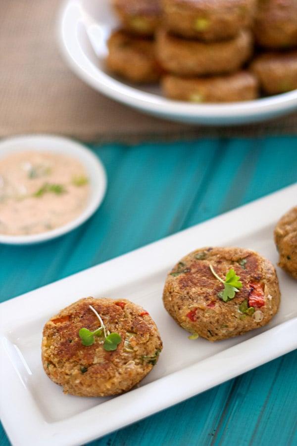 Chickpea Quinoa Cakes with Creamy Cucumber Sauce - WendyPolisi.com