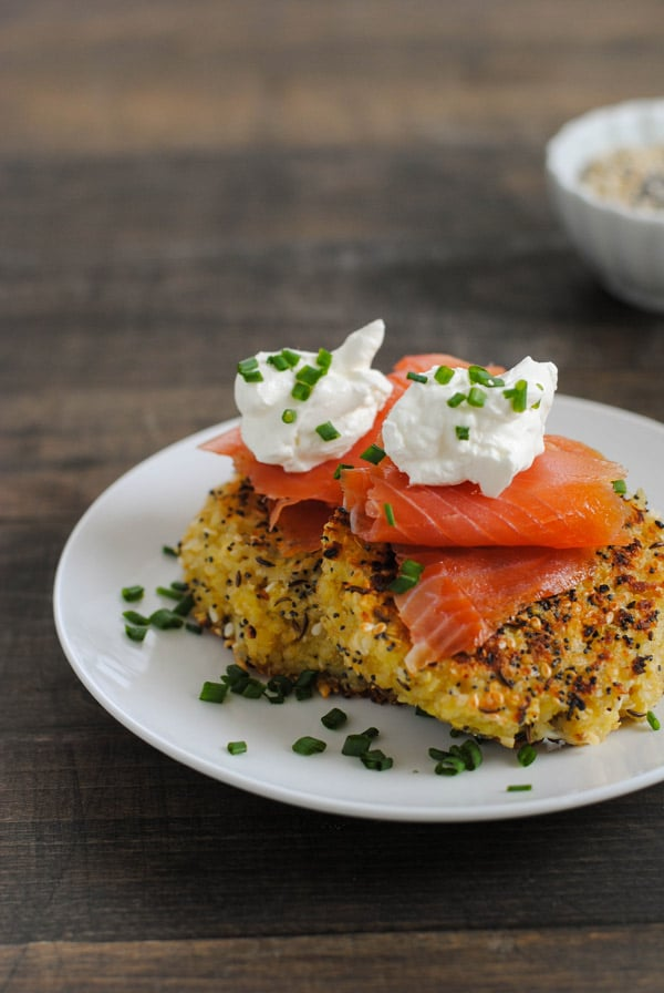 Everything Bagel Quinoa Cakes with Smoked Salmon & Crème Fraîche
