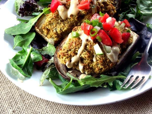 Quinoa Falafel Stuffed Eggplant - WendyPolisi.com