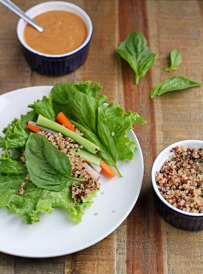 Quinoa Lettuce Wraps with Easy Peanut Sauce - WendyPolisi.com