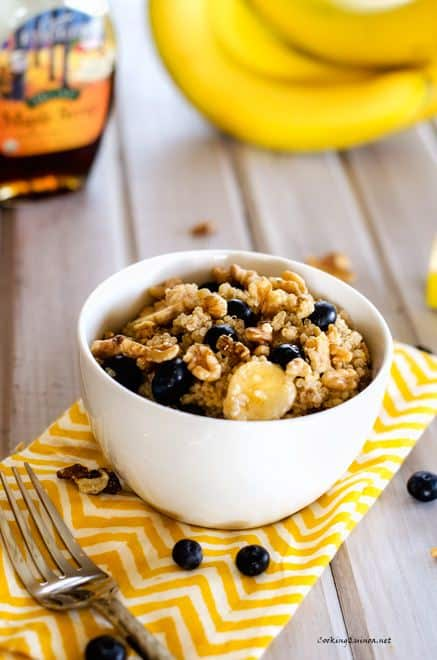 Quinoa with Blueberries Walnuts & Bananas - WendyPolisi.com