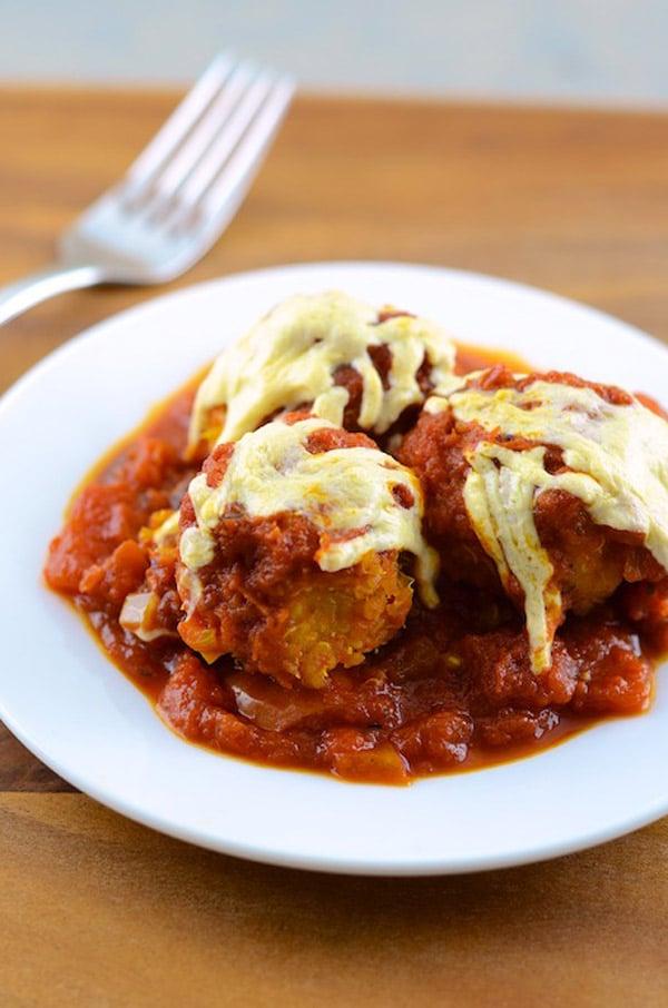 Vegan Quinoa Meatball Parmesan