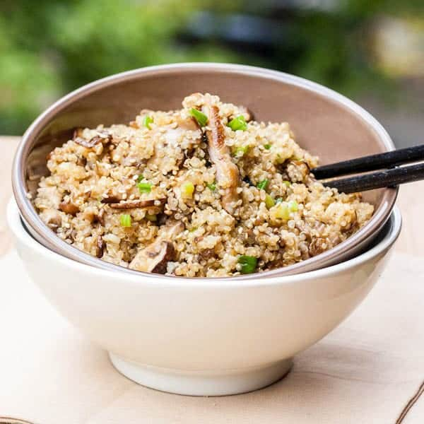 Toasted Quinoa with Mushrooms and Asian Flavors