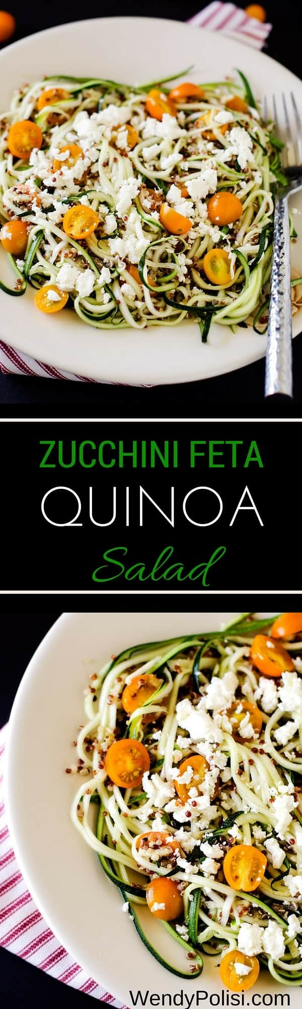 Zucchini Feta Quinoa Salad with Lemon Dill Dressing - Wendy Polisi