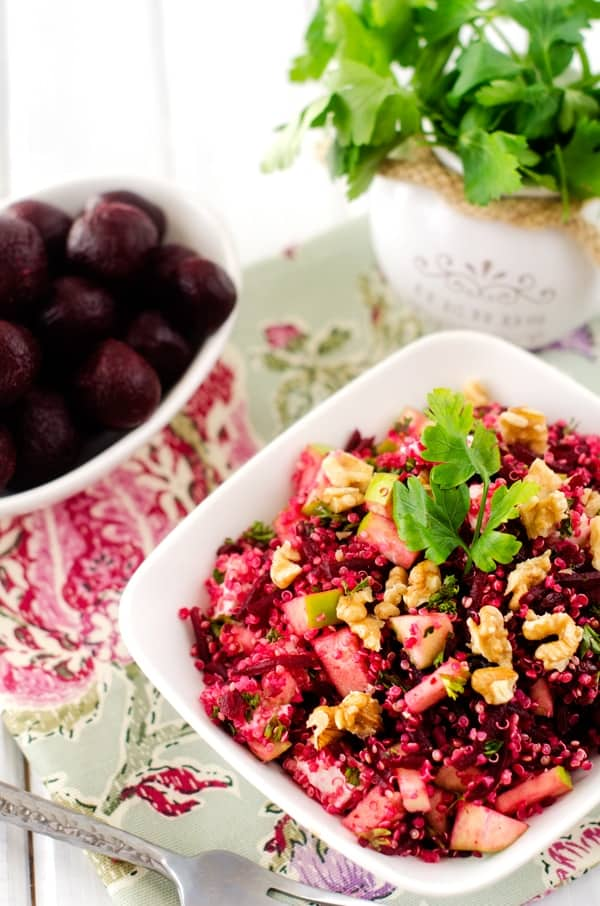 Quinoa Salad with Goat Cheese Beets & Walnuts - WendyPolisi.com