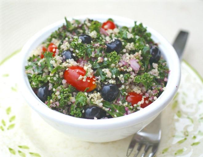 Blueberry, Kale and Quinoa Salad with Fresh Blueberry Vinaigrette - WendyPolisi.com