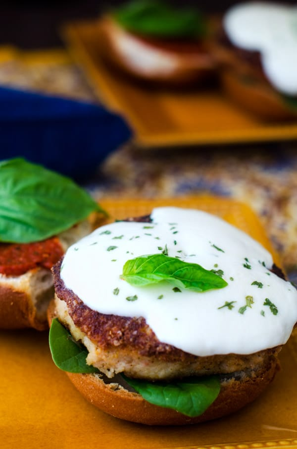 Quinoa Crusted Chicken Parmesan Burgers - Wendy Polisi