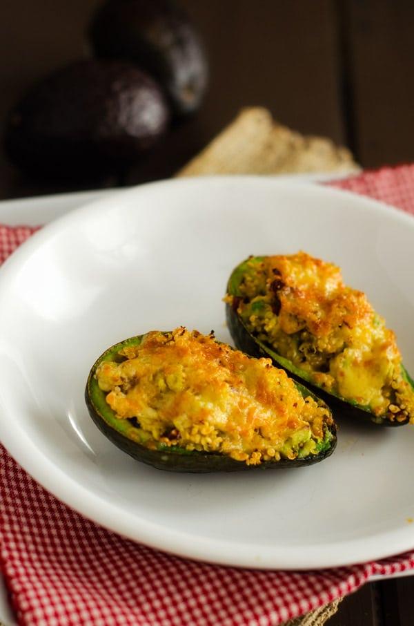 Chipotle Cheddar Quinoa Broiled Avocados