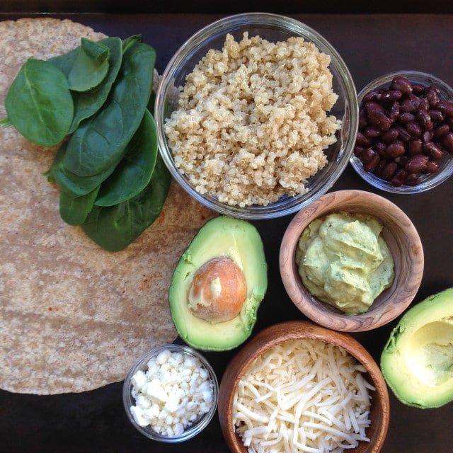 Black Bean, Feta & Avocado Quinoa Wrap with Avocado-Tahini Dip