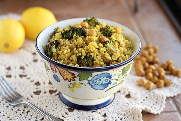 Moroccan-Spiced Quinoa with Roasted Broccoli and Chickpeas - WendyPolisi.com