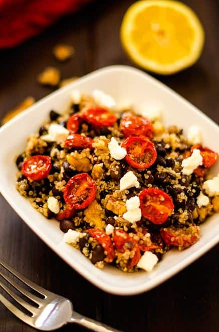Oven Roasted Tomato, Black Bean & Quinoa Salad - WendyPolisi.com