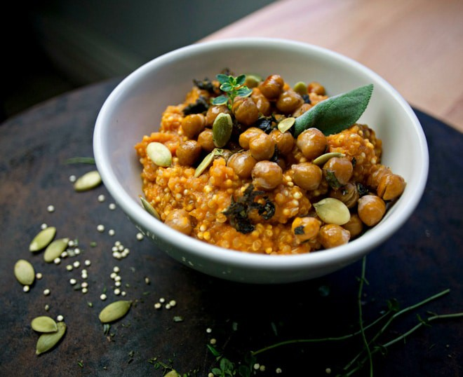 Sage Maple Chickpeas with Creamy Pumpkin Quinoa & Millet - WendyPolisi.com