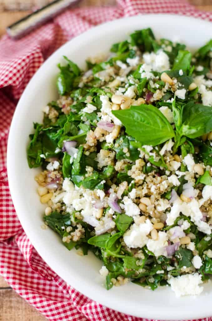 SThis Spinach Quinoa Salad with Feta and Pine Nuts is simple to make and makes a great side dish or vegetarian main course.