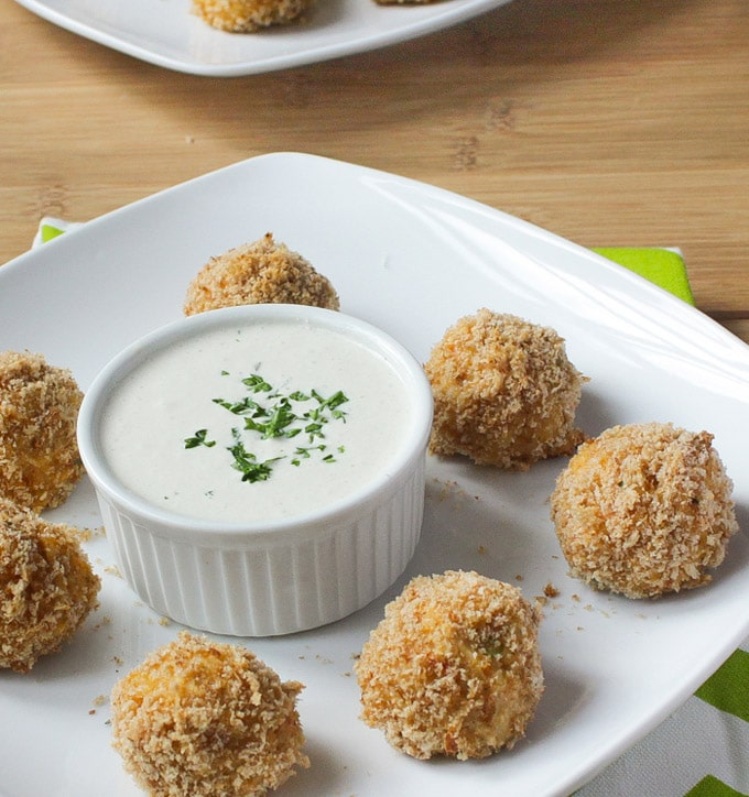 Buffalo Chicken Quinoa Bites with Skinny Blue Cheese Dressing