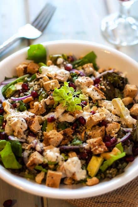 Chicken Pomegranate and Cashew Quinoa Salad