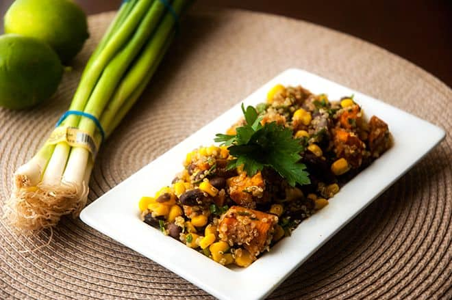 Spicy Sweet Potato, Black Bean & Corn Quinoa Salad