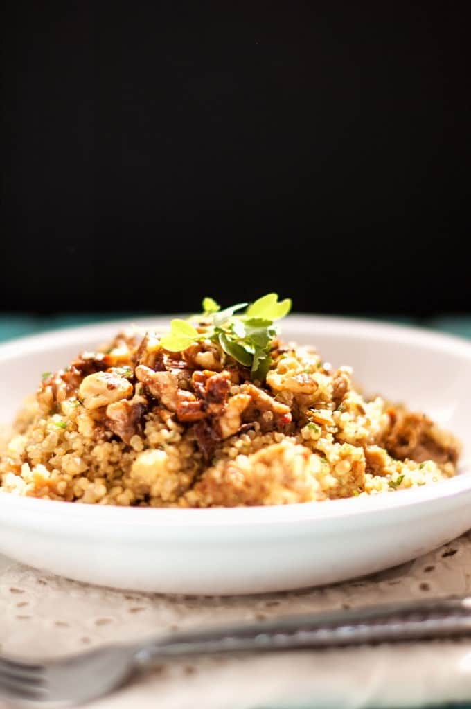 Quinoa with Sausage, Pears and Candied Walnuts