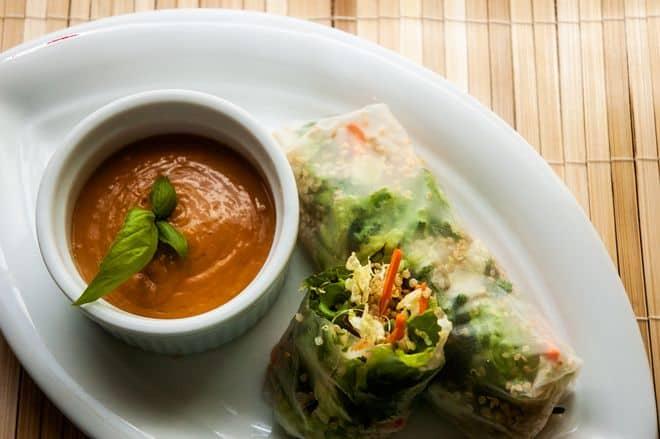 Quinoa Spring Rolls with Spicy Peanut Sauce