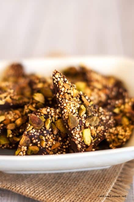 Salted Quinoa Chocolate Bark with Pistachios - WendyPolisi.com