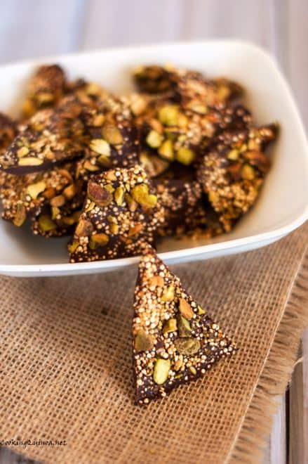 Salted Quinoa Chocolate Bark with Pistachios - Wendy Polisi