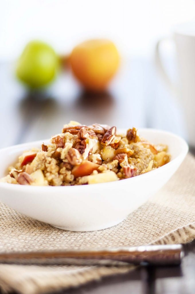 Apple Pecan Quinoa Breakfast -This healthy quinoa breakfast recipe is an amazing and satisfying way to start the day! So easy to make. - WendyPolisi.com