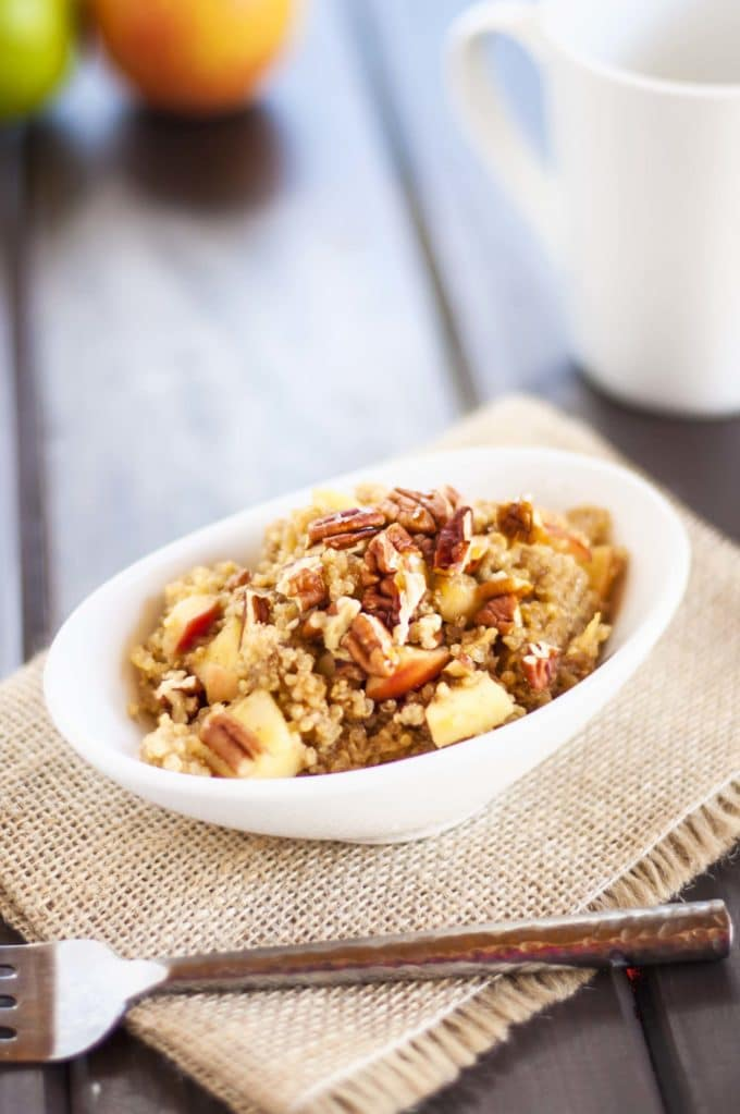 Apple Pecan Quinoa Breakfast - This healthy quinoa breakfast recipe is an amazing and satisfying way to start the day! So easy to make. - WendyPolisi.com