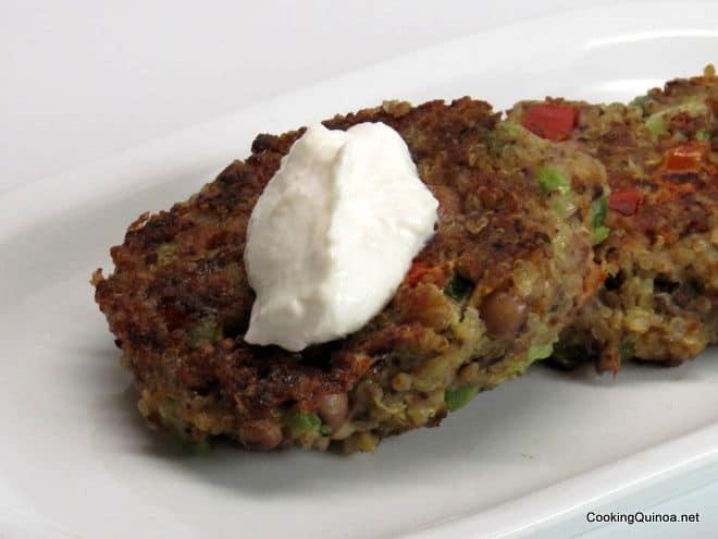 Black Eyed Pea Quinoa Fritters with Horseradish Cream