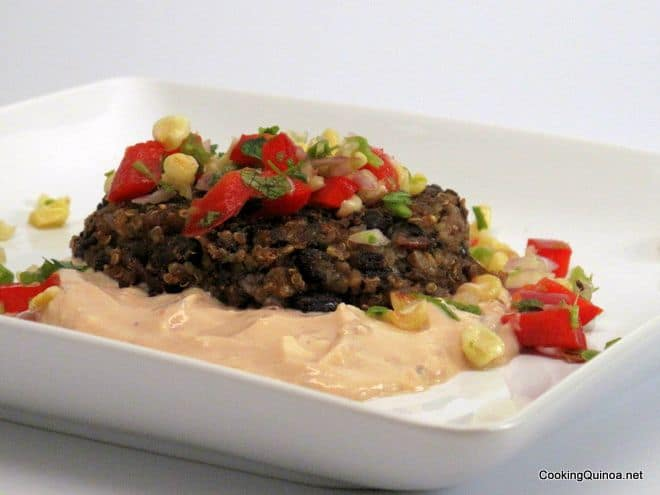 Black Bean Cakes with Chipotle Remoulade and Corn Salsa