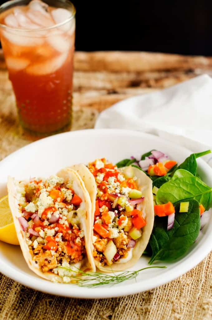 Buffalo Chicken Quinoa Wraps - These quinoa wraps are so tasty and make a great healthy lunch or dinner!- WendyPolisi.com