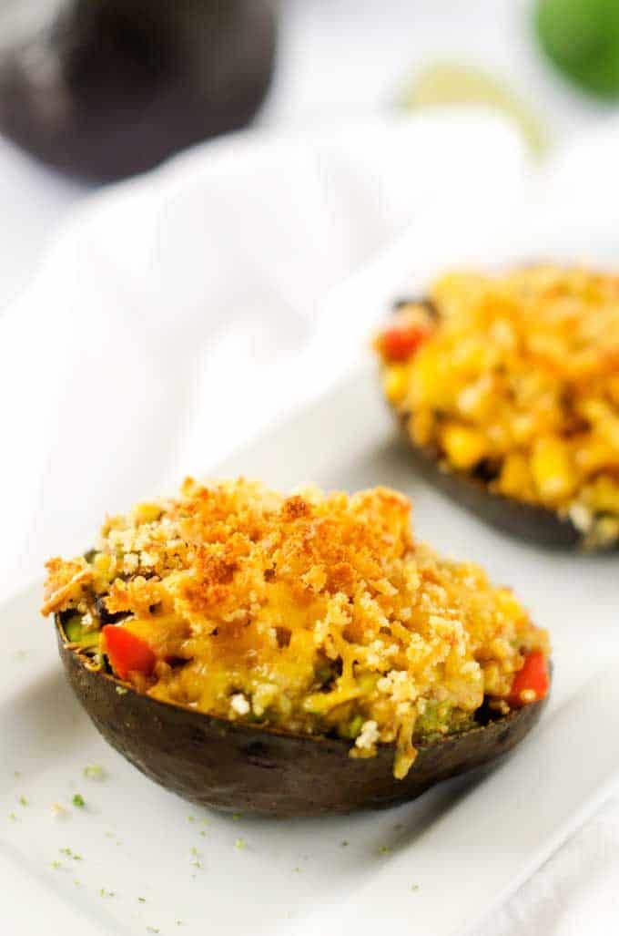 Cheesy Black Bean & Quinoa Stuffed Avocados - WendyPolisi.com
