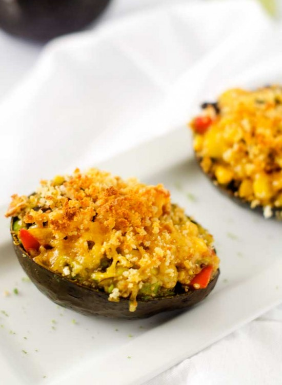 Cheesy Black Bean & Quinoa Stuffed Avocados