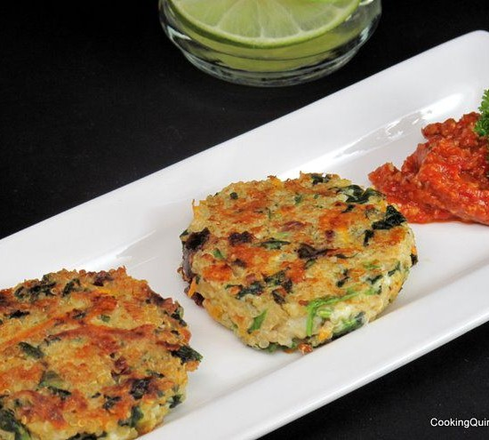 Quinoa Cakes Roasted Red Pepper Sauce