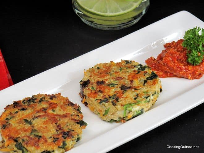 Crispy Quinoa Cakes with Roasted Red Pepper Sauce