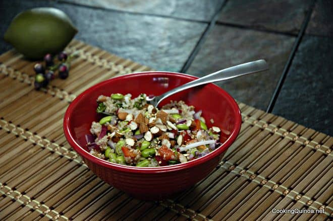 Quinoa Edamame Bowl - This easy vegan quinoa salad is packed with protein.  It is so filling that is will help you keep your healthy eating goals on track!