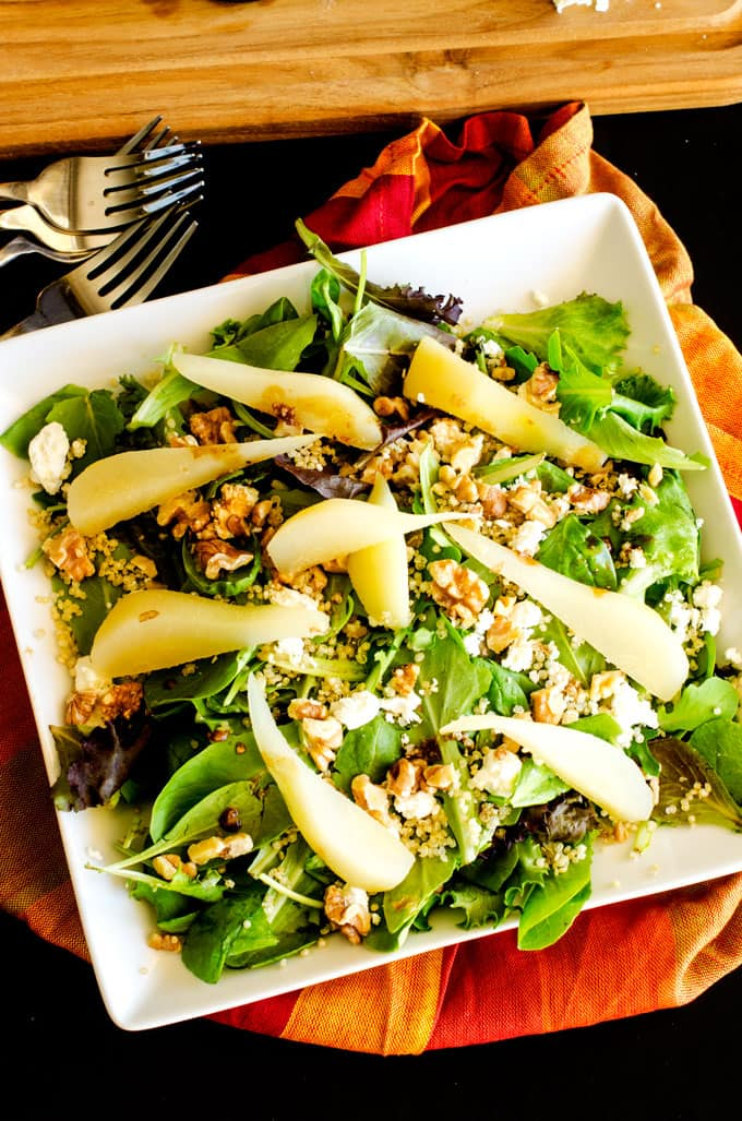 Pear Quinoa Salad with Walnuts & Goat Cheese