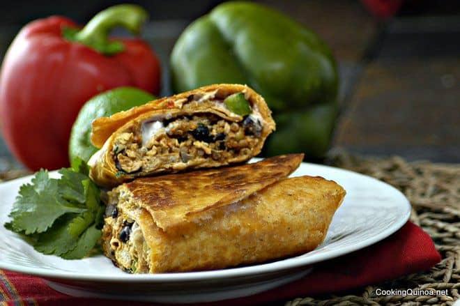 Crispy Southwestern Quinoa and Chicken Burritos