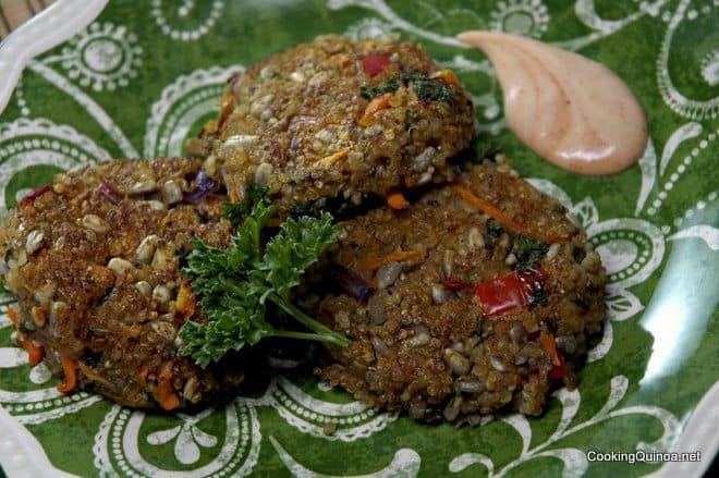 Clean Eating Quinoa Patties - These vegan quinoa patties are so healthy and taste delicious!  With quinoa, veggies, chia seeds and sunflower seeds, your body will thank you!