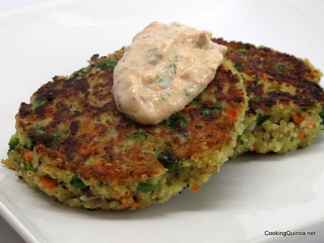 Couscous and Quinoa Patties with Vegetable Yogurt Sauce