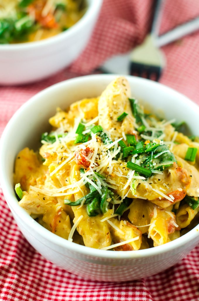 Slow Cooker Penne with Chicken, Spinach & Sun Dried Tomatoes - Wendy ...