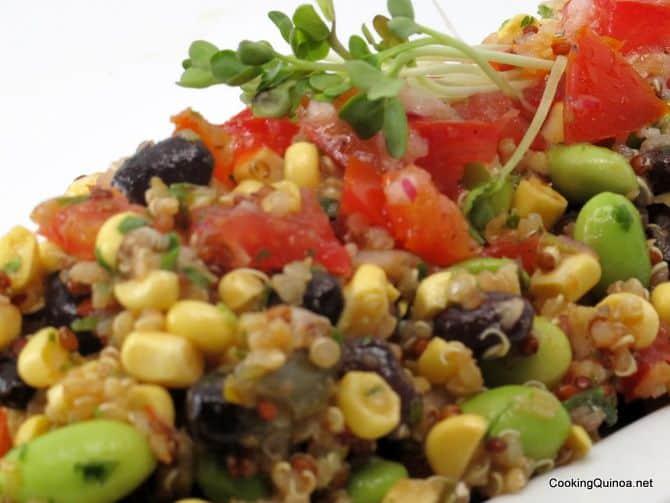 Black Bean Corn Edamame Quinoa Salad