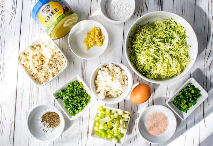 Photo of ingredients in prep bowls for Zucchini Fritters.