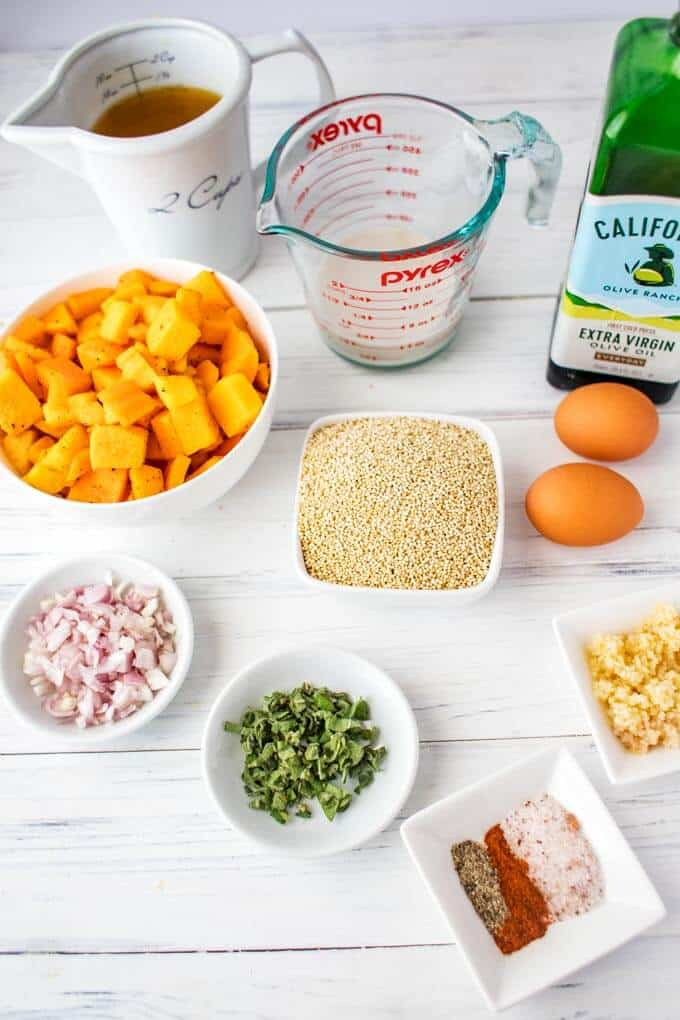 Ingredients for a Butternut Squash Quinoa Casserole.