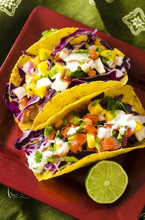 Healthy Slow Cooker Chicken Tacos with Mango Salsa