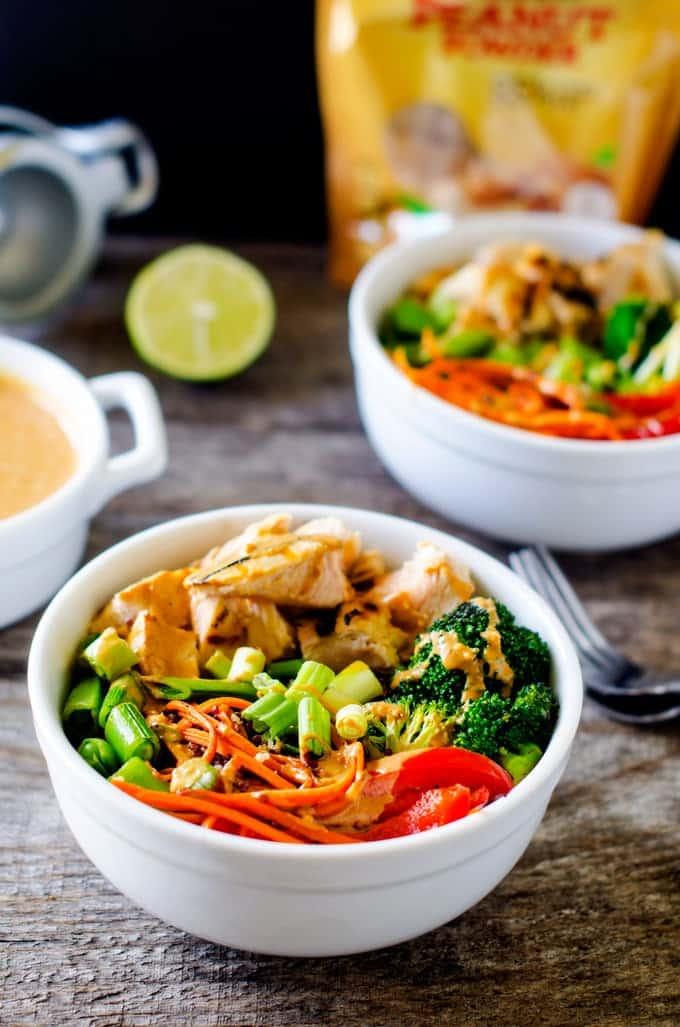 Chicken Veggie Quinoa Bowl with Spicy Peanut Sauce - WendyPolisi.com
