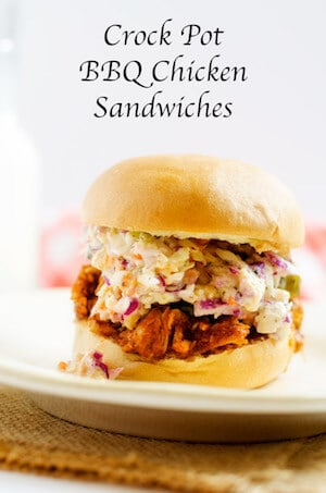 Slow Cooker BBQ Chicken Sandwiches with Skinny Slaw