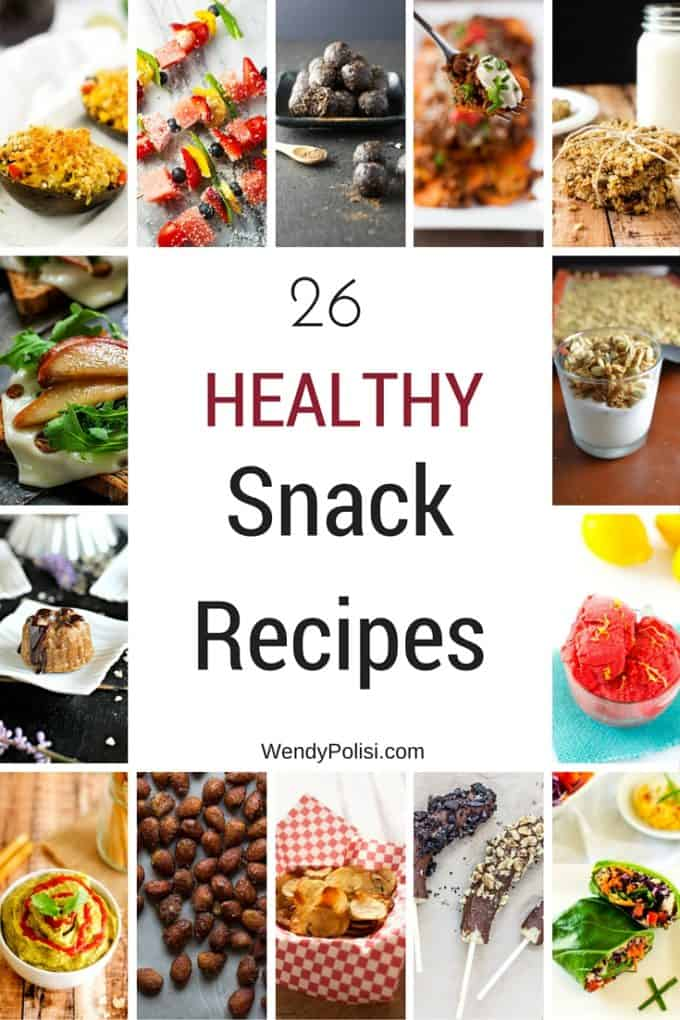 Photo of a collage of healthy snack recipes with the text 26 Healthy Snack Recipes in the center.