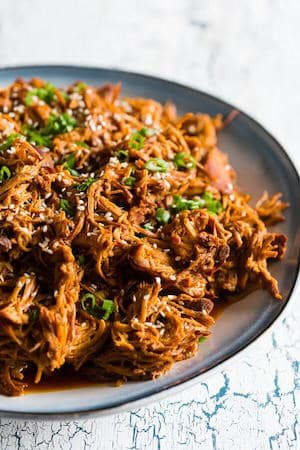 Slow Cooker Honey Soy Sriracha Pulled Chicken