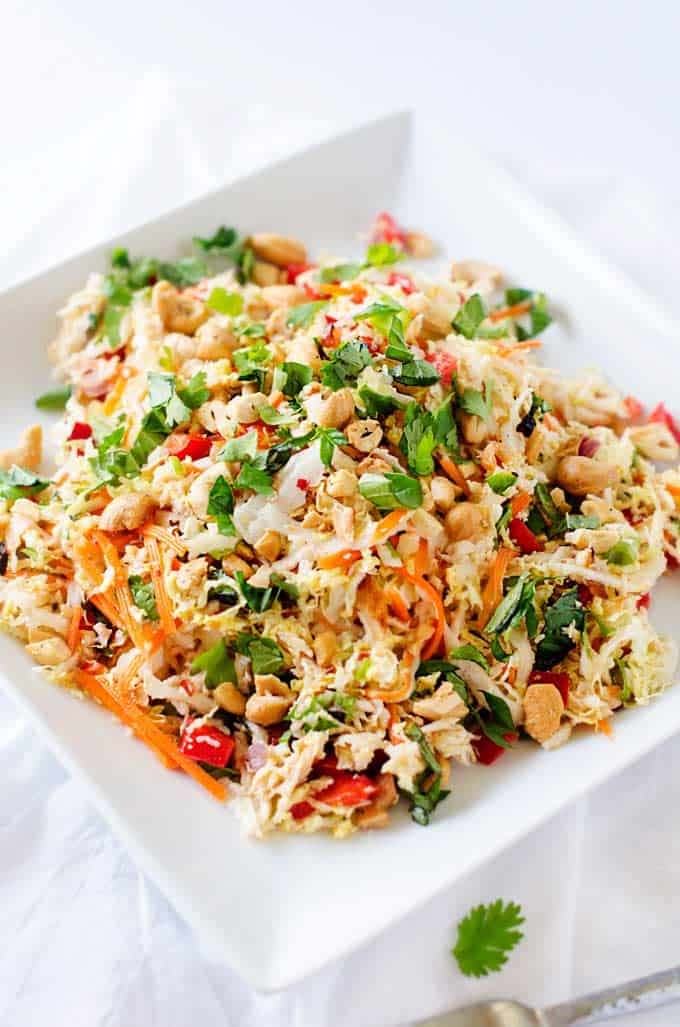 Photo of Thai Chicken Salad on a white plate.